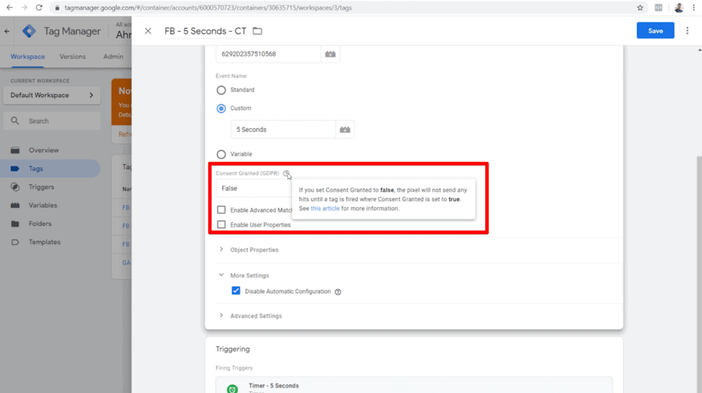 Screenshot of tag configuration with Consent Granted (GDPR) set to false