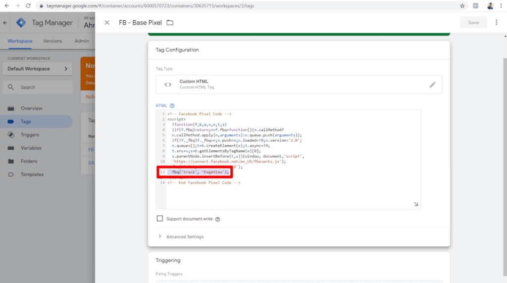 Screenshot of tag configuration with fbq('track', 'Pageview'); highlighted in HTML code