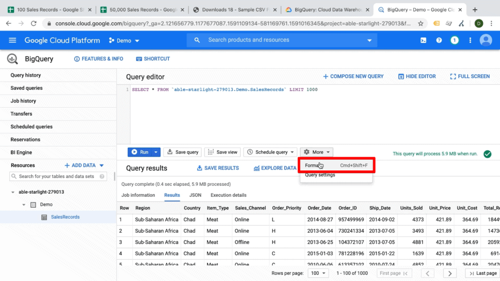 Screenshot of user selecting Format button under More dropdown on Google BigQuery dashboard