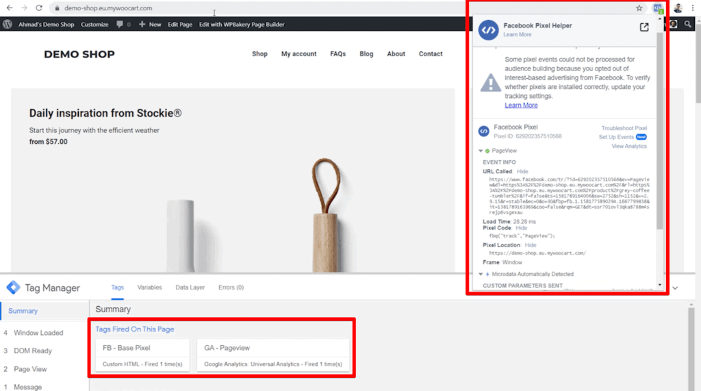 Screenshot of website shop page with pixel and pageview tags highlighted in Google Tag Manager and Facebook Pixel Helper