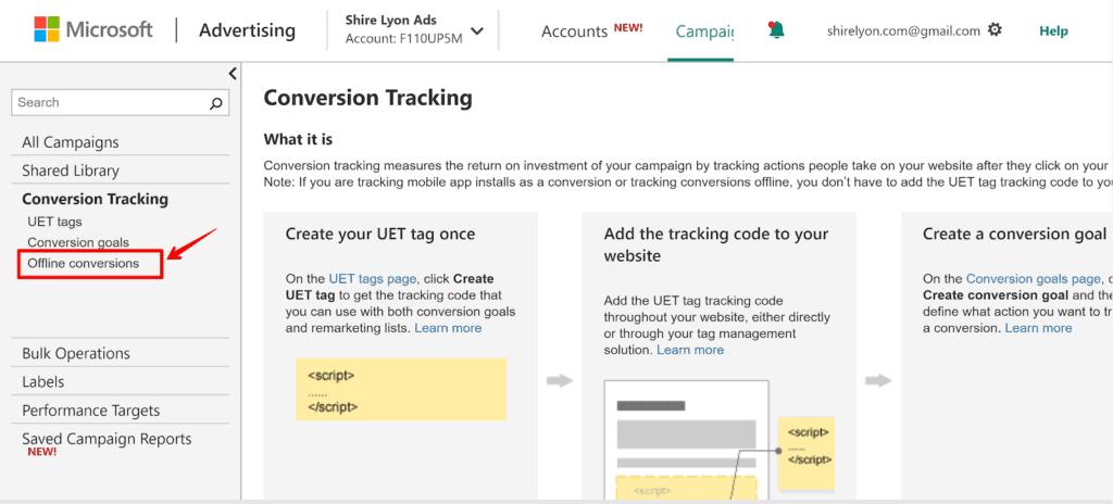 Screenshot selecting offline conversions