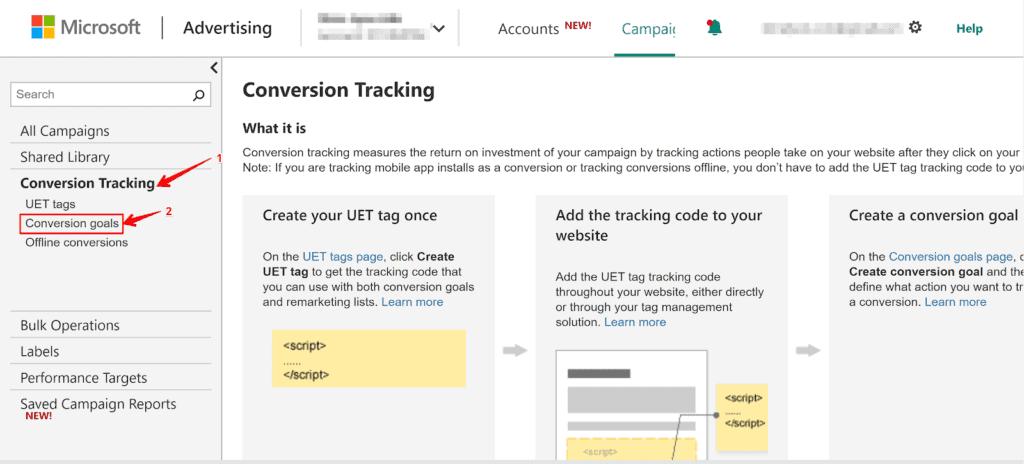 Screenshot showing how to begin creating a conversion goal