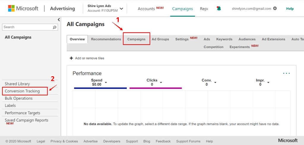 Screenshot showing how to navigate to the conversion tracking section