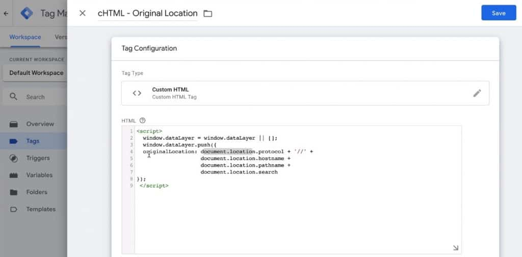 Screenshot of GTM, showing how to set up the Custom HTML tag.