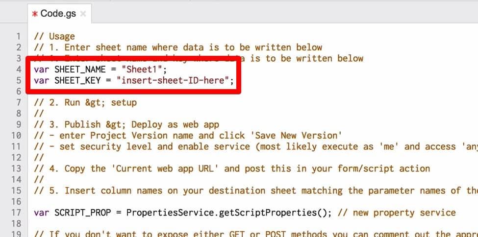 "Enlarged view of script var SHEET_NAME = ""Sheet1""; and var SHEET_KEY = ""insert-sheet-ID-here"";"