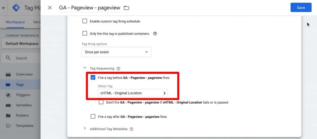 Screenshot of GTM, showing Tag Sequencing setup for the GA pageview tag.