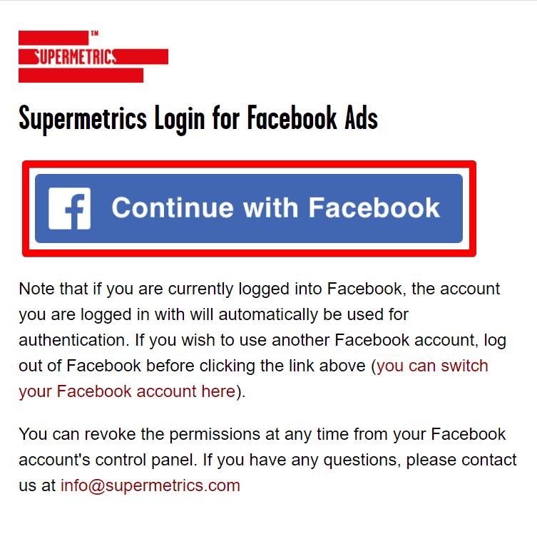 Google Data Studio Supermetrics login for Facebook Ads