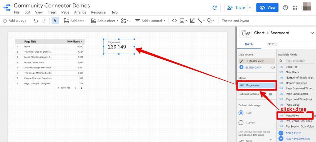 Google Data Studio add metric to scorecard