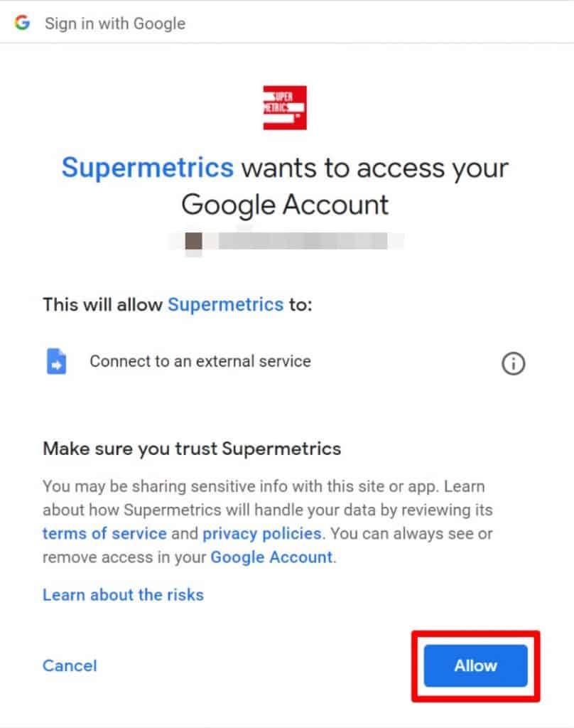Google Data Studio allow Supermetrics to access your account