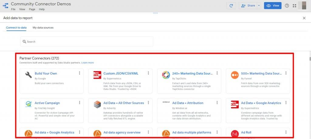 Google Data Studio available Partner Connectors