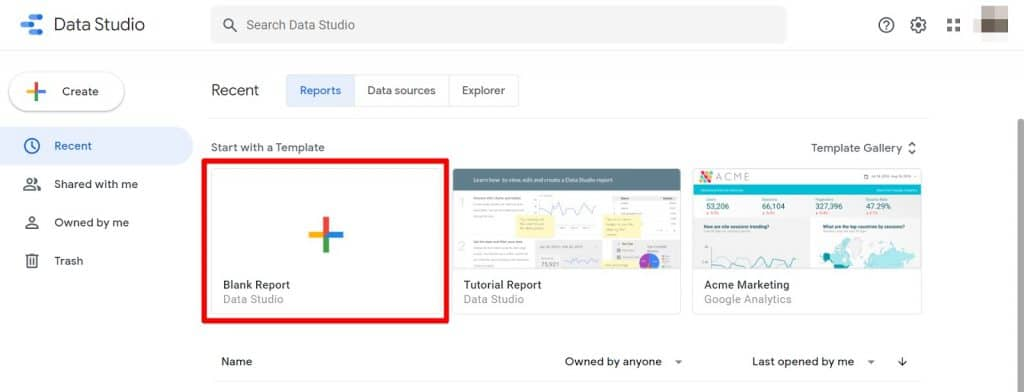 Google Data Studio create blank report