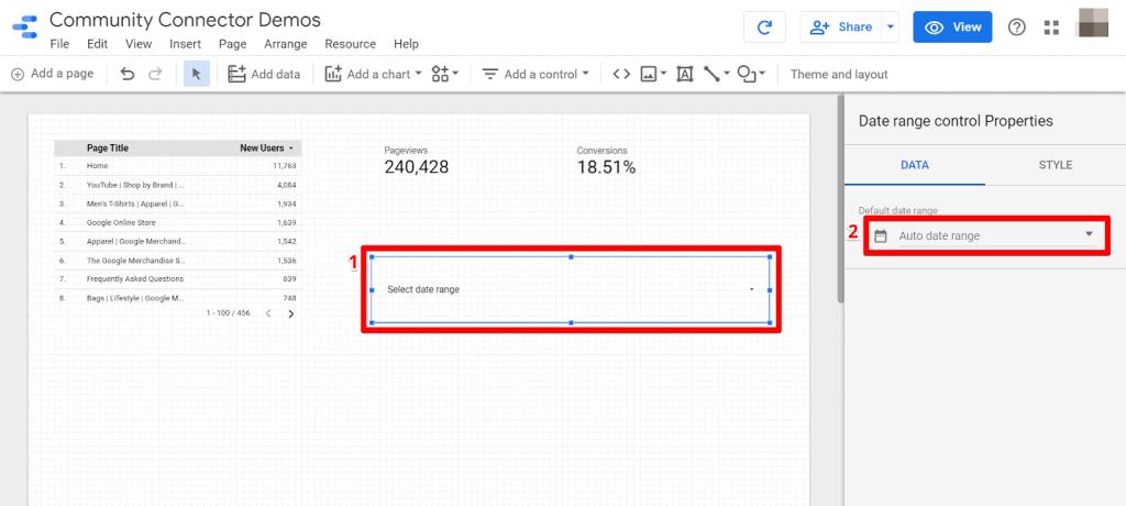 Google Data Studio draw date range control and select default date range