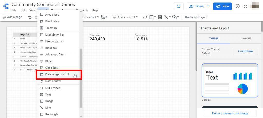 Google Data Studio insert date range control