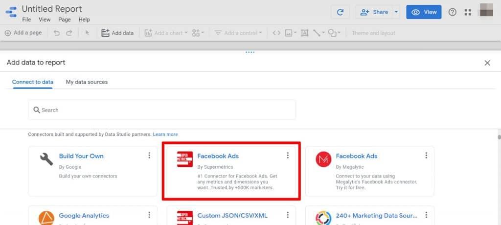 Google Data Studio select Supermetrics Facebook Ads Connector