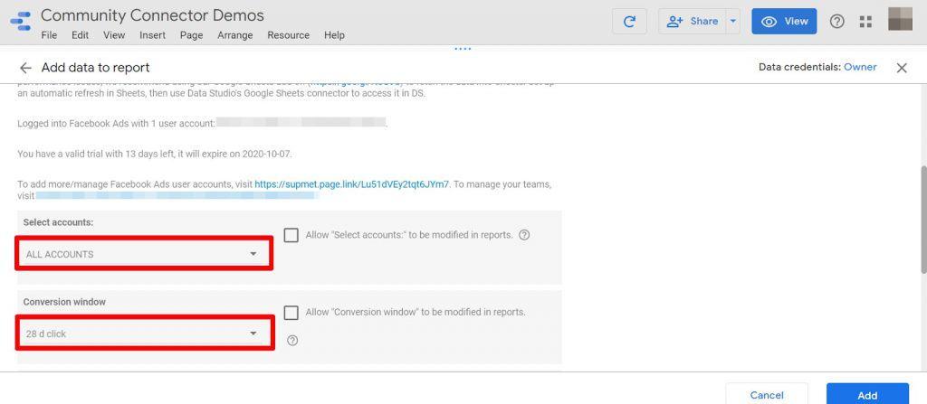 Google Data Studio select accounts and conversion window
