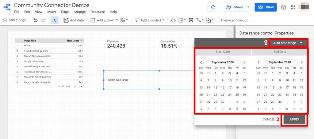 Google Data Studio select date range for data