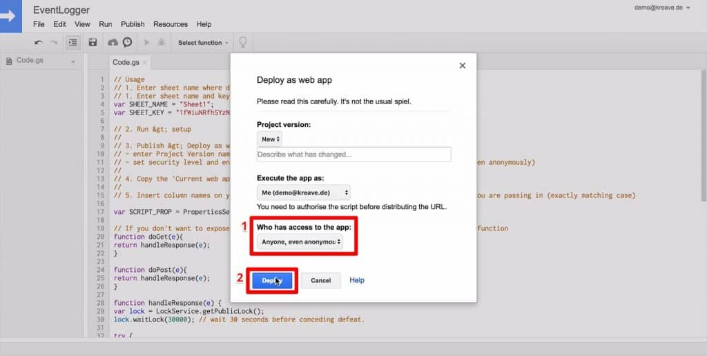 Google Scripts Deploy as web app popup with access permissions and Deploy button highlighted