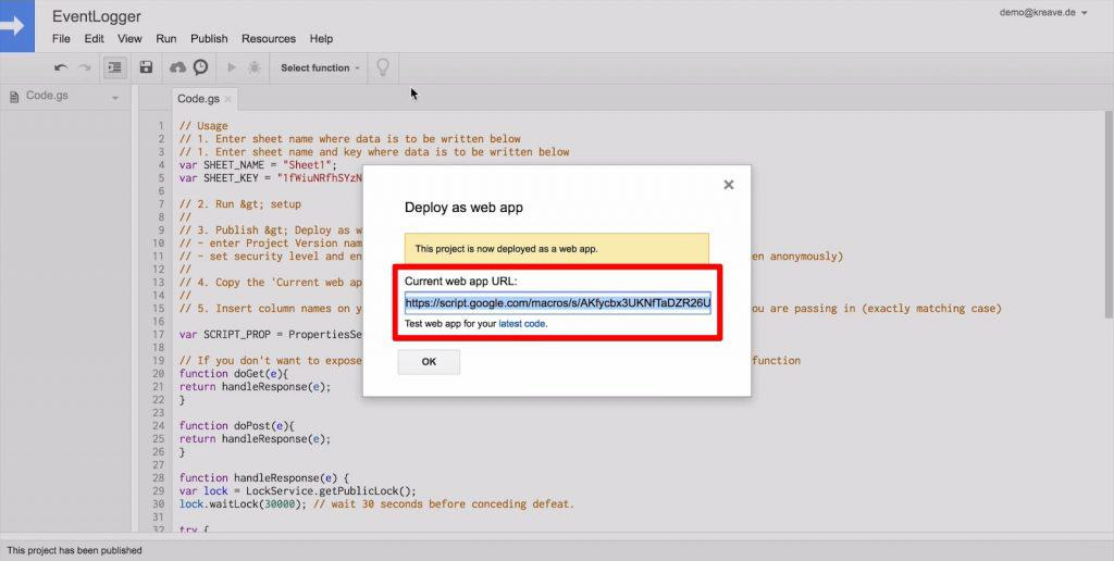 Google Scripts Deploy as web app popup with app URL highlighted