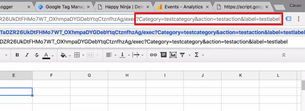 Google Sheet URL with new query string highlighted