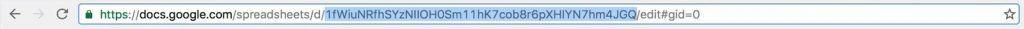 Google Sheet URL with sheet ID segment highlighted