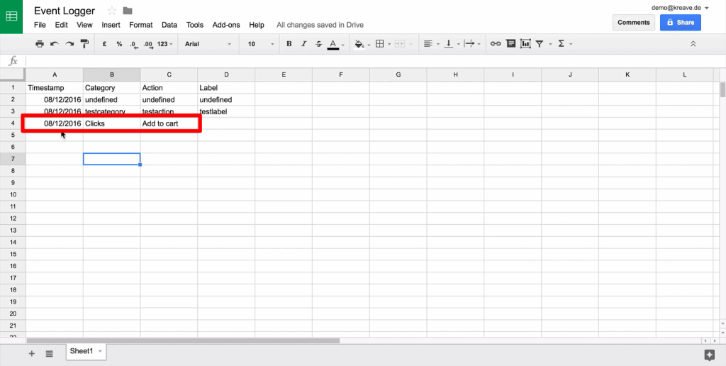 Google Sheet new data row with Timestamp, Category, and Action columns dynamically filled and empty Label column