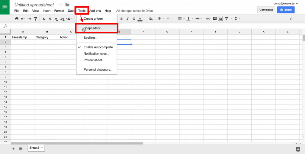 Google Sheet with Tools dropdown and Script editor option highlighted