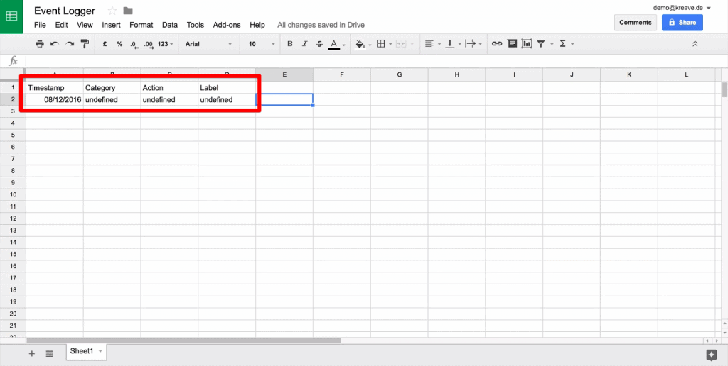 Google Sheet with new data line highlighted, with Category, Action, and Label listed as undefined