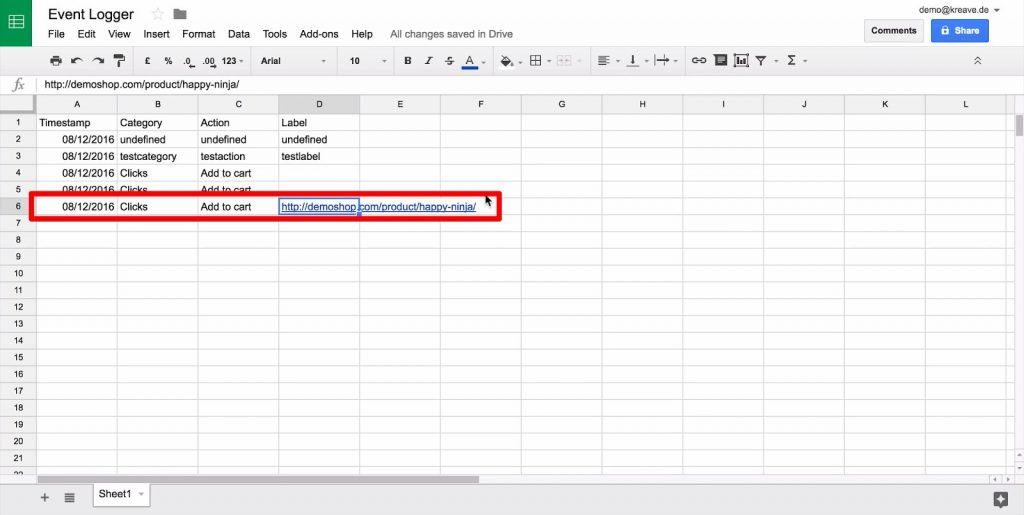 Google Sheet with new data row, with all columns filled dynamically from Google Tag Manager