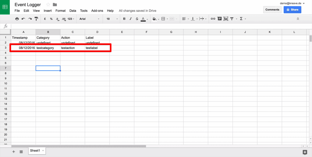Google Sheet with new line of data with values testcategory, testaction, and testlabel