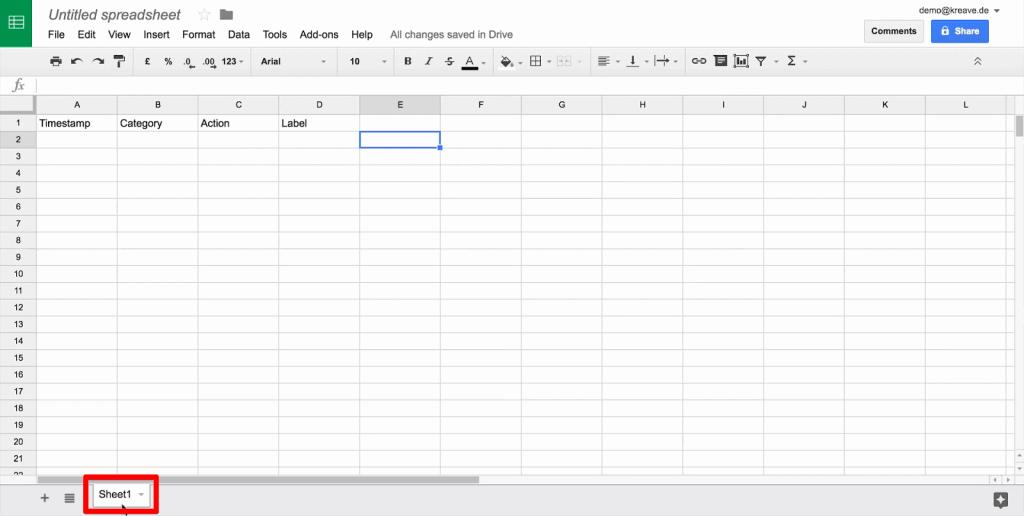 Google Sheet with sheet name at bottom toolbar highlighted