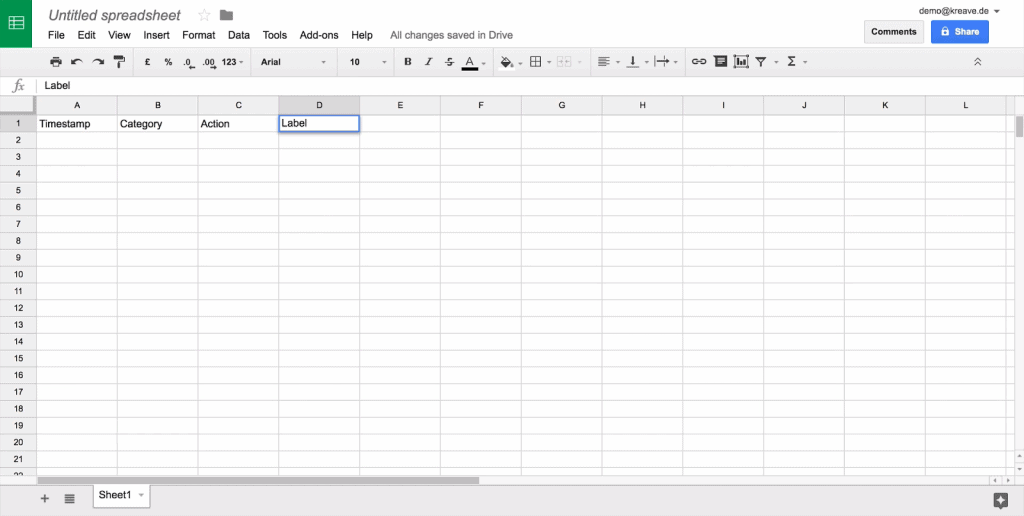 Google Sheets plain sheet with columns labeled Timestamp, Category, Action, and Label