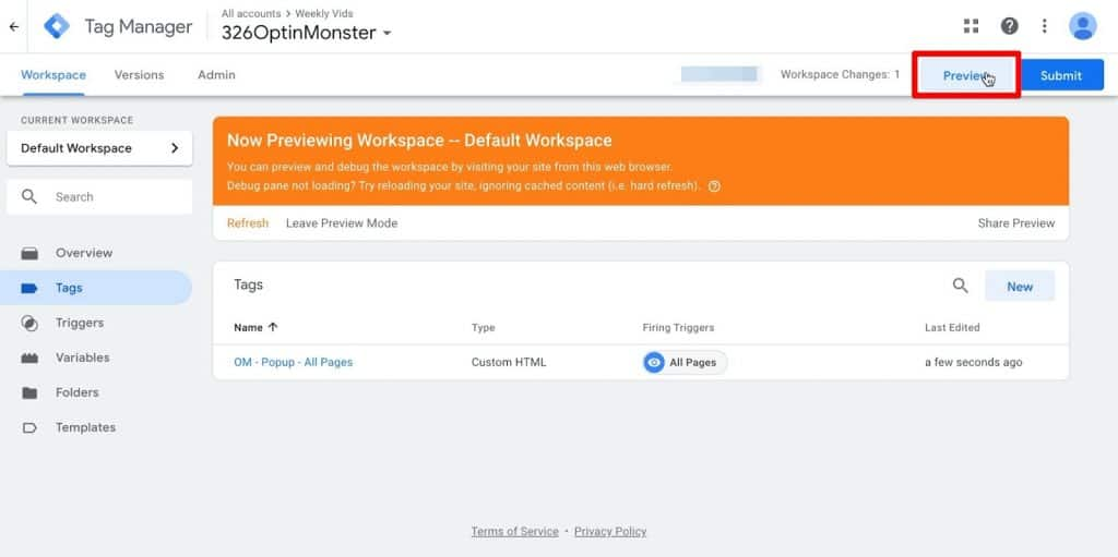 Google Tag Manager dashboard with Preview button highlighted