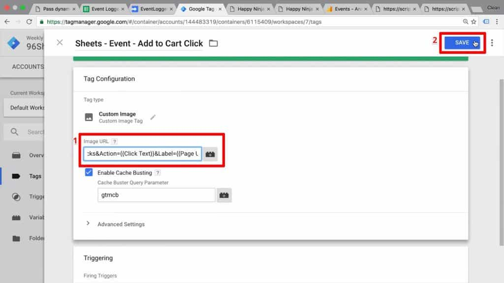 Google Tag Manager event with Image URL edited to include Page URL as the dynamic Label field