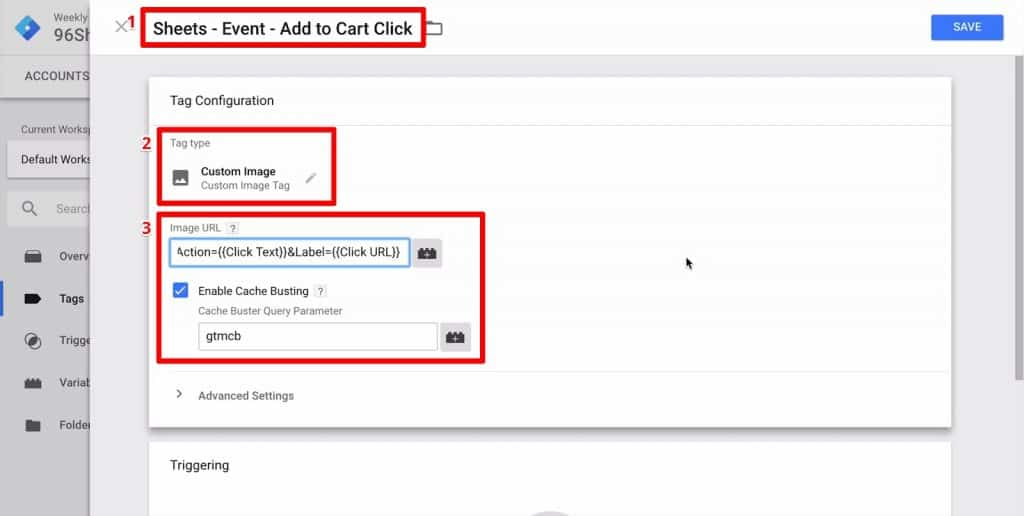 Google Tag Manager event with Tag Type set to Custom Image and Image URL edited to include dynamic query parameters