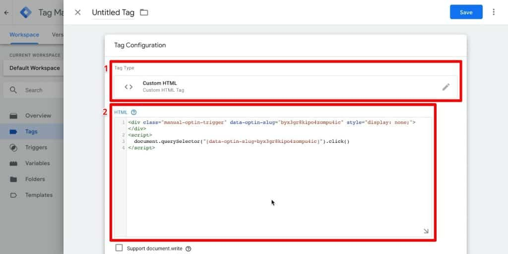 Google Tag Manager tag configuration with Custom HTML tag type and HTML field highlighted