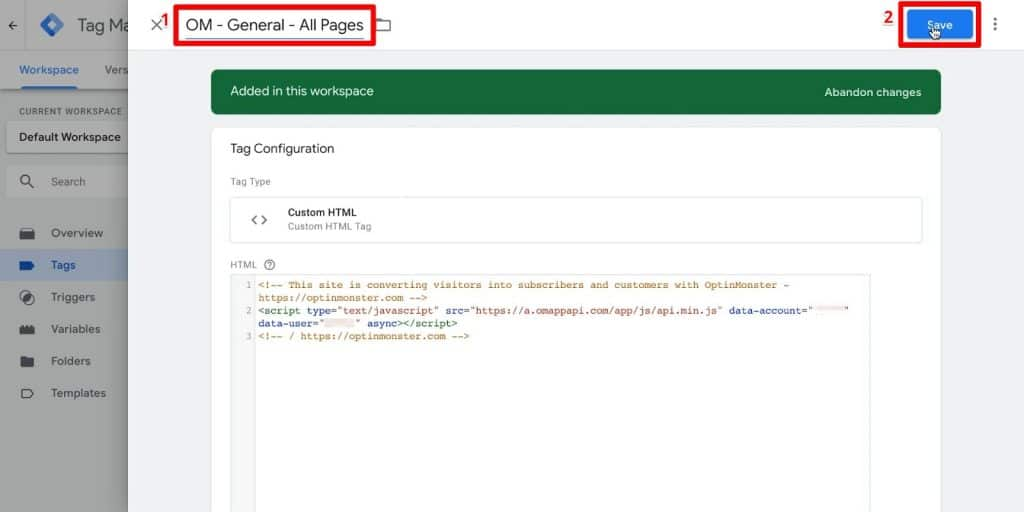 Google Tag Manager tag configuration with name OM - General - All Pages and Save button highlighted