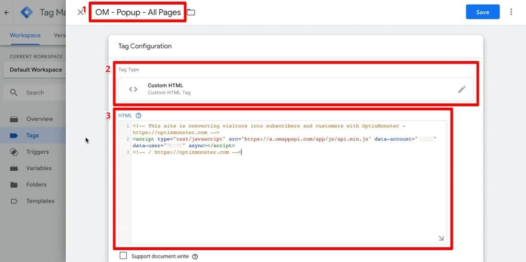 Google Tag Manager tag configuration with name, tag type, and custom HTML code highlighted