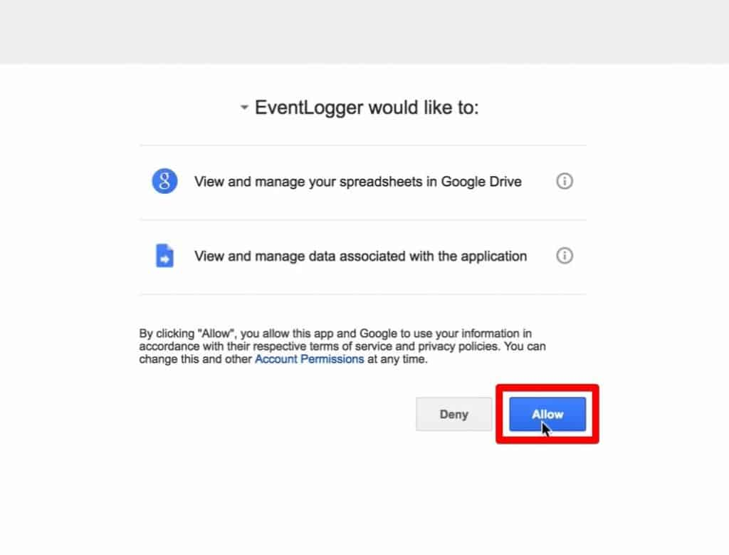 Google permissions with Allow button highlighted