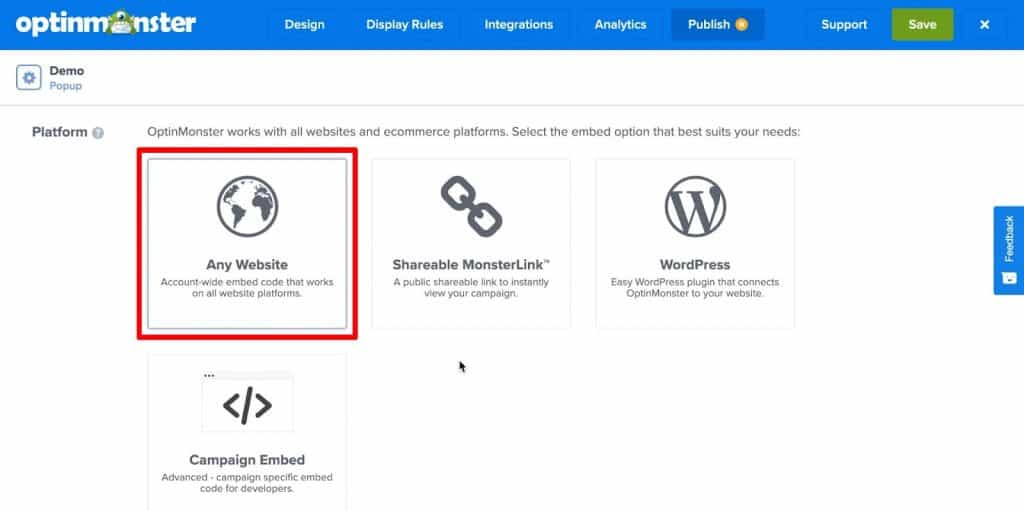 OptinMonster Publish platform settings with Any Website highlighted