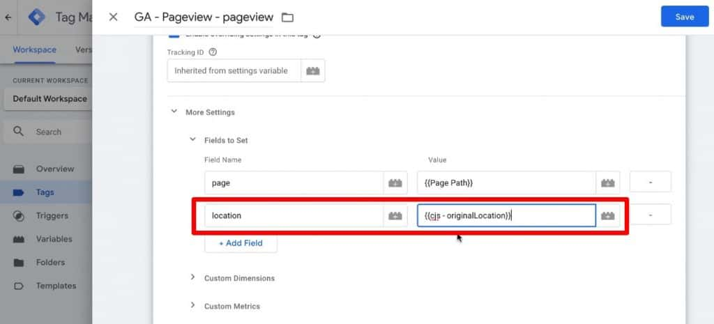 Screenshot of GTM, showing how to add a location field to the GA pageview tag.