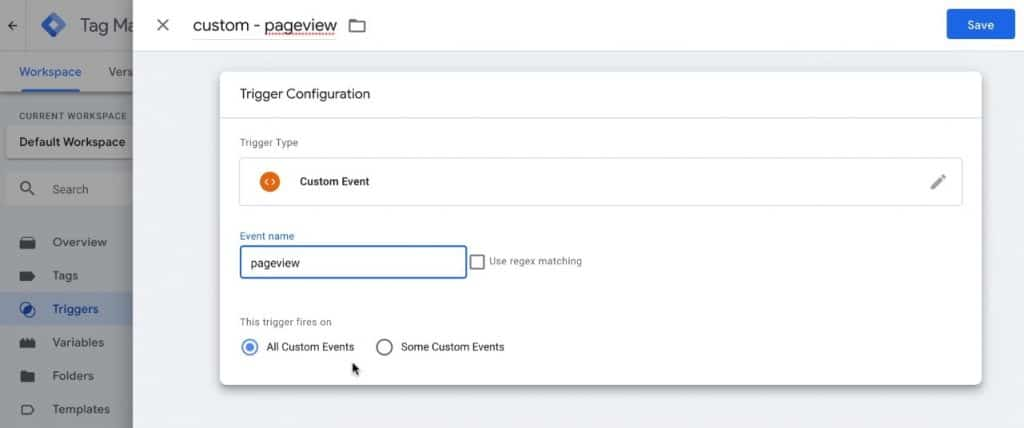Screenshot of GTM showing the settings for the custom pageview trigger.
