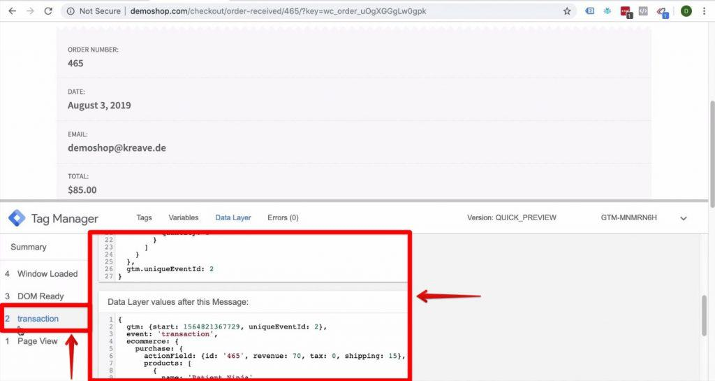 Screenshot of the information on the Data Layer and the events in Google Tag Manager