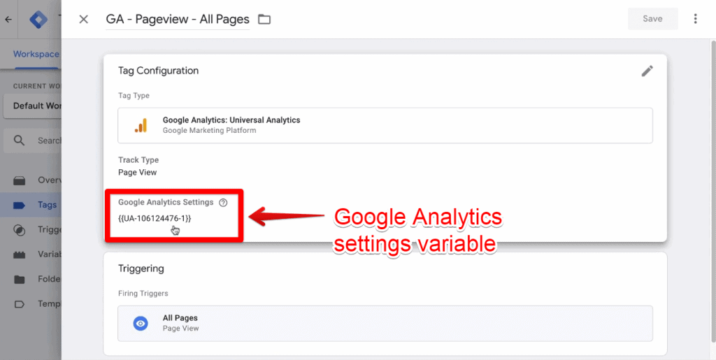 Screenshot of the Google Analytics settings variable being highlighted on Google Tag Manager