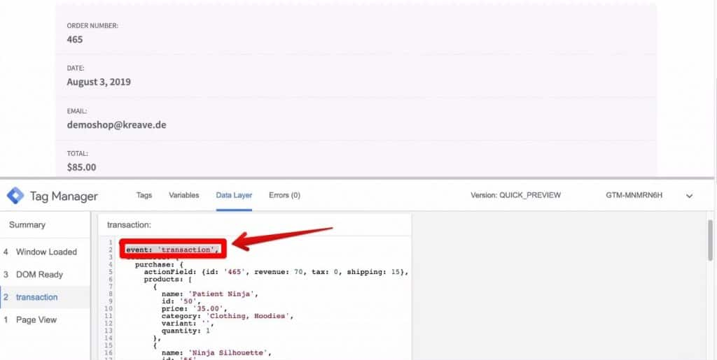 Screenshot of the event key in the Google Tag Manager window in the Demoshop webpage