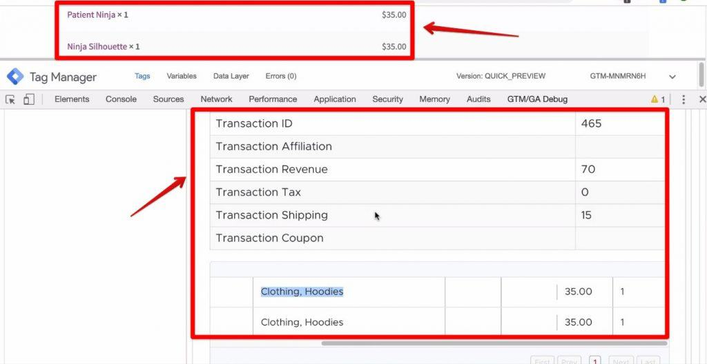 Screenshot of the product data inside the GTM container