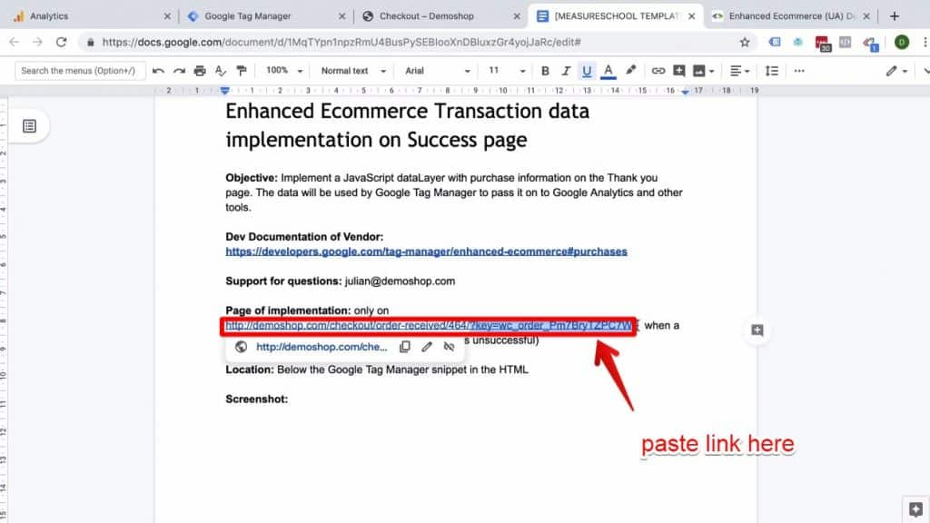 Screenshot of Demoshop link being pasted in the Page of implementation section of the Enhanced Ecommerce Transaction data implementation on Success page document