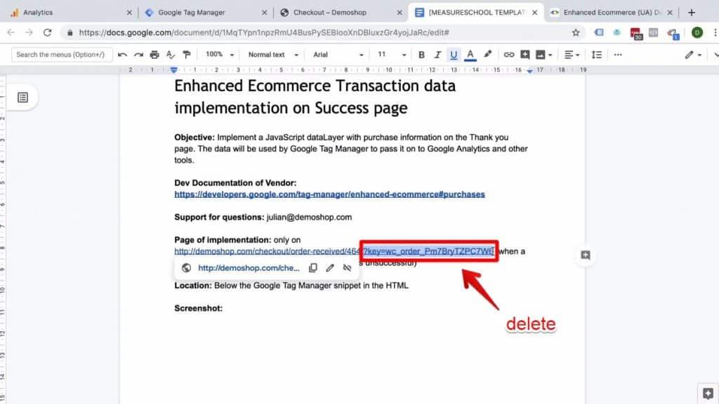 Screenshot of URL key being deleted