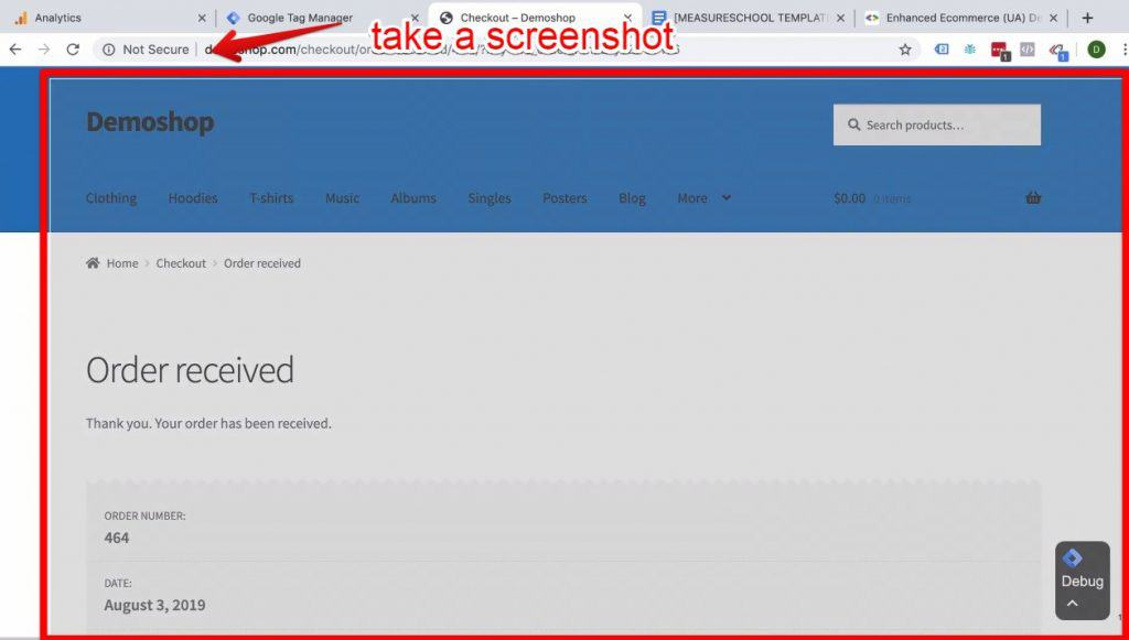 Screenshot of a screenshot being taken at the Demoshop's Order received page