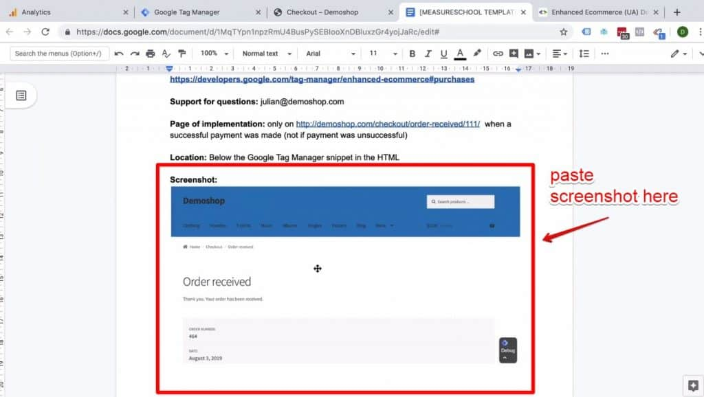 Screenshot of the Demoshop Order received page screenshot being pasted into the Enhanced Ecommerce Transaction data implementation on Success page document