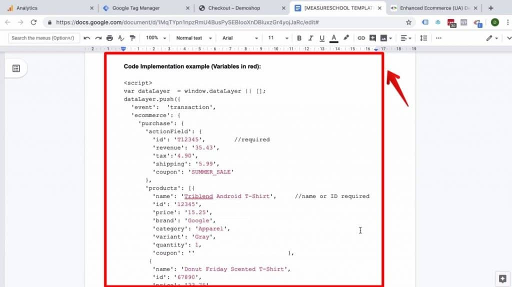 Screenshot of the code example included in the Enhanced Ecommerce Transaction data implementation on Success page document